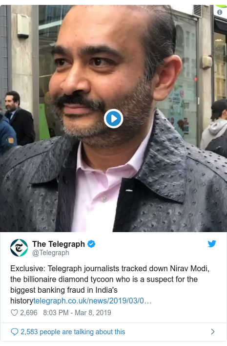Twitter post by @Telegraph: Exclusive  Telegraph journalists tracked down Nirav Modi, the billionaire diamond tycoon who is a suspect for the biggest banking fraud in India's history