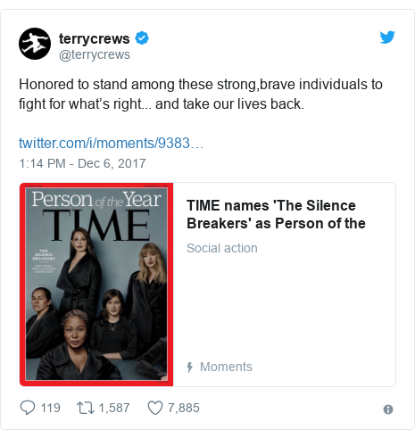 Twitter post by @terrycrews: Honored to stand among these strong,brave individuals to fight for what's right... and take our lives back.