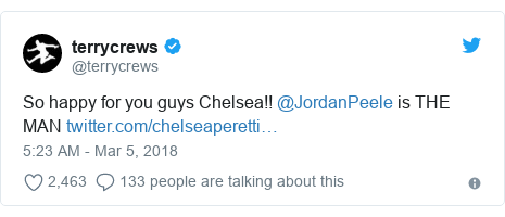 Twitter post by @terrycrews: So happy for you guys Chelsea!! @JordanPeele is THE MAN