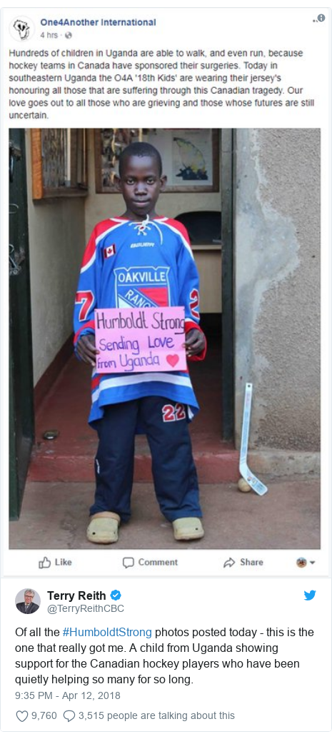 Twitter post by @TerryReithCBC: Of all the #HumboldtStrong photos posted today - this is the one that really got me. A child from Uganda showing support for the Canadian hockey players who have been quietly helping so many for so long.