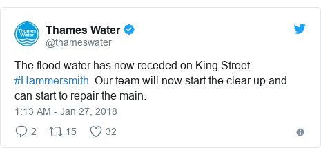 Twitter post by @thameswater: The flood water has now receded on King Street #Hammersmith. Our team will now start the clear up and can start to repair the main.