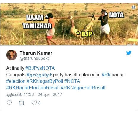 டுவிட்டர் இவரது பதிவு @tharun98pdkt: At finally #BJPvsNOTA Congrats #நாம்தமிழர் party has 4th placed in #Rk nagar #election #RKNagarByPoll #NOTA #RKNagarElectionResult #RKNagarPollResult