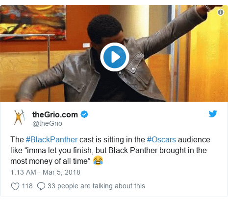 """Twitter post by @theGrio: The #BlackPanther cast is sitting in the #Oscars audience like """"imma let you finish, but Black Panther brought in the most money of all time"""" 😂"""