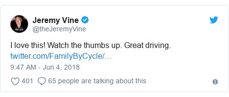 Twitter post by @theJeremyVine: I love this! Watch the thumbs up. Great driving.