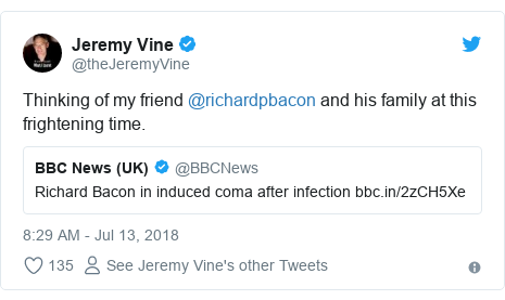 Twitter post by @theJeremyVine: Thinking of my friend @richardpbacon and his family at this frightening time.