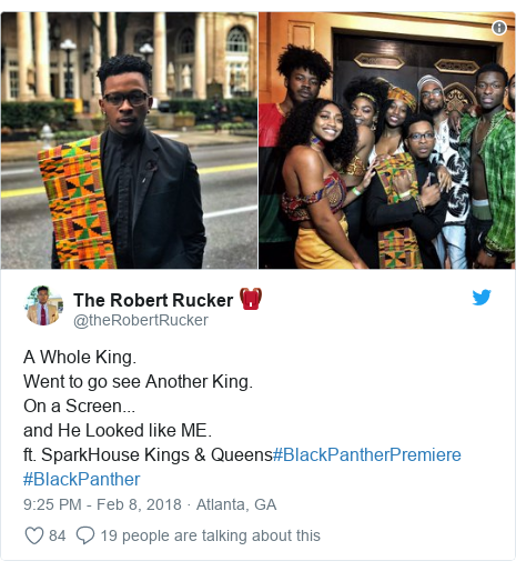Twitter post by @theRobertRucker: A Whole King. Went to go see Another King.On a Screen... and He Looked like ME. ft. SparkHouse Kings & Queens#BlackPantherPremiere #BlackPanther
