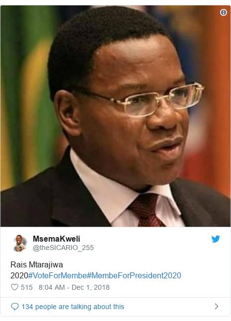 Ujumbe wa Twitter wa @theSICARIO_255: Rais Mtarajiwa 2020#VoteForMembe#MembeForPresident2020