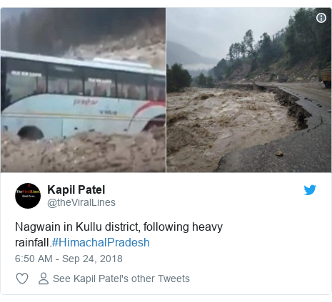 Twitter post by @theViralLines: Nagwain in Kullu district, following heavy rainfall.#HimachalPradesh