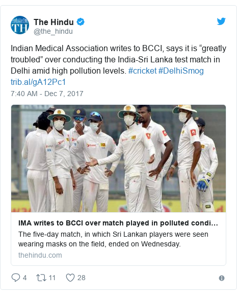 """Twitter හි @the_hindu කළ පළකිරීම: Indian Medical Association writes to BCCI, says it is """"greatly troubled"""" over  conducting the India-Sri Lanka test match in Delhi amid high pollution levels. #cricket #DelhiSmog"""