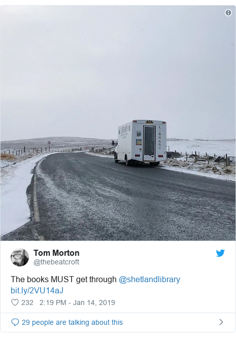 Twitter post by @thebeatcroft: The books MUST get through @shetlandlibrary
