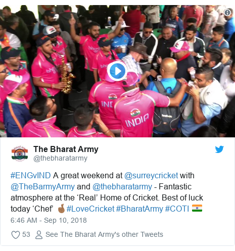 Twitter post by @thebharatarmy: #ENGvIND A great weekend at @surreycricket with @TheBarmyArmy and @thebharatarmy - Fantastic atmosphere at the 'Real' Home of Cricket. Best of luck today 'Chef' 🤞🏾#LoveCricket #BharatArmy #COTI 🇮🇳