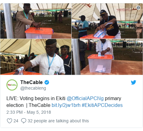 Twitter post by @thecableng: LIVE  Voting begins in Ekiti @OfficialAPCNg primary election  | TheCable  #EkitiAPCDecides