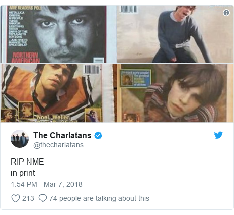Twitter post by @thecharlatans: RIP NMEin print