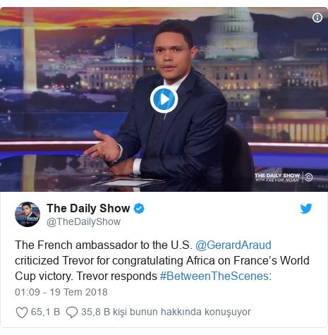 @TheDailyShow tarafından yapılan Twitter paylaşımı: The French ambassador to the U.S. @GerardAraud criticized Trevor for congratulating Africa on France's World Cup victory. Trevor responds #BetweenTheScenes