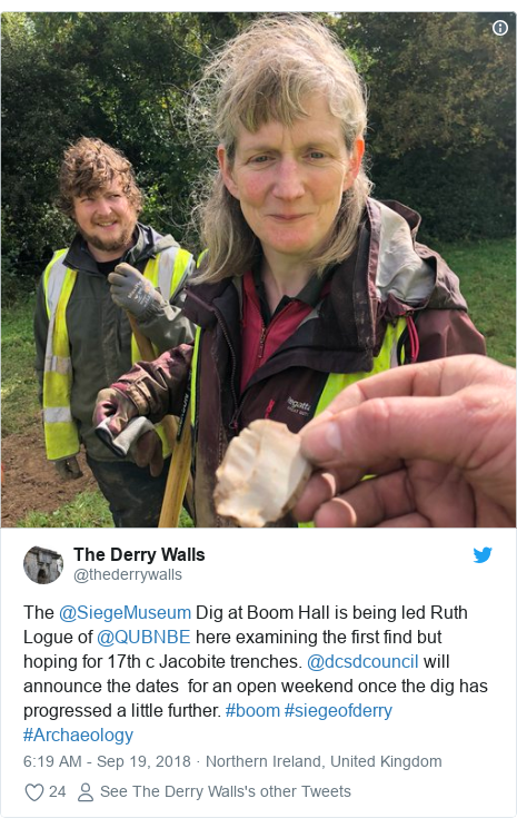 Twitter post by @thederrywalls: The @SiegeMuseum Dig at Boom Hall is being led Ruth Logue of @QUBNBE here examining the first find but hoping for 17th c Jacobite trenches. @dcsdcouncil will announce the dates  for an open weekend once the dig has progressed a little further. #boom #siegeofderry  #Archaeology