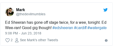 Twitter post by @thedevilmumbles: Ed Sheeran has gone off stage twice, for a wee, tonight. Ed Wee-ran! Good gig though! #edsheeran #cardiff #watergate
