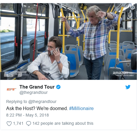 Twitter post by @thegrandtour: Ask the Host? We're doomed. #Millionaire