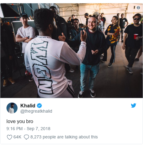 Twitter post by @thegreatkhalid: love you bro