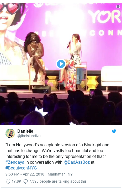 """Twitter post by @theislandiva: """"I am Hollywood's acceptable version of a Black girl and that has to change. We're vastly too beautiful and too interesting for me to be the only representation of that."""" - #Zendaya in conversation with @BadAssBoz at #BeautyconNYC"""