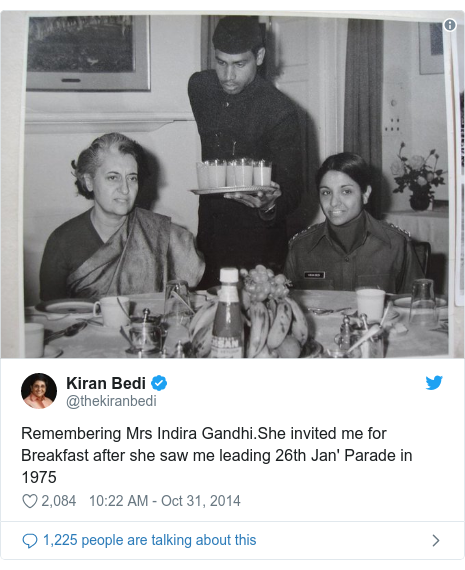 Twitter post by @thekiranbedi: Remembering Mrs Indira Gandhi.She invited me for Breakfast after she saw me leading 26th Jan' Parade in 1975
