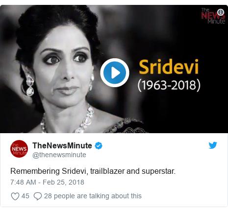 د @thenewsminute په مټ ټویټر  تبصره : Remembering Sridevi, trailblazer and superstar.