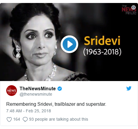 د @thenewsminute په مټ ټویټر  تبصره : Remembering Sridevi, trailblazer and superstar.