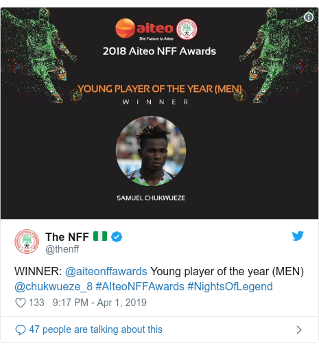 Twitter post by @thenff: WINNER  @aiteonffawards Young player of the year (MEN) @chukwueze_8 #AIteoNFFAwards #NightsOfLegend