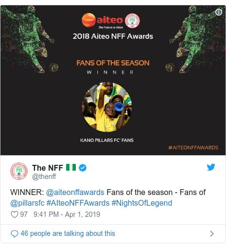 Twitter post by @thenff: WINNER  @aiteonffawards Fans of the season - Fans of @pillarsfc #AIteoNFFAwards #NightsOfLegend