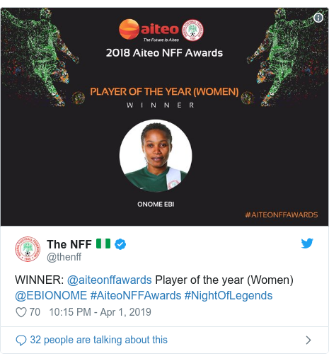 Twitter post by @thenff: WINNER  @aiteonffawards Player of the year (Women) @EBIONOME #AiteoNFFAwards #NightOfLegends