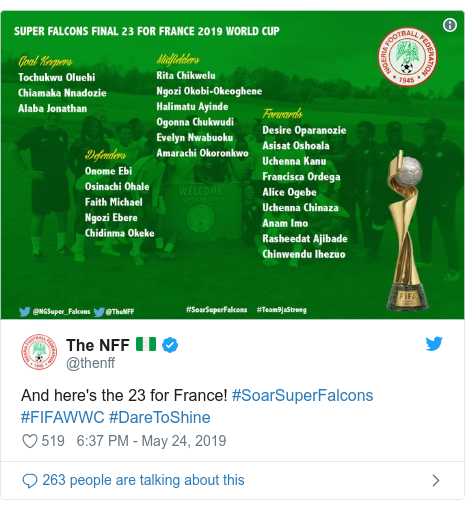 Twitter post by @thenff: And here's the 23 for France! #SoarSuperFalcons #FIFAWWC #DareToShine