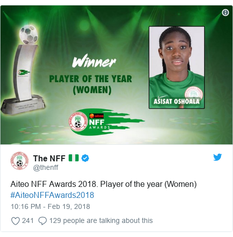 Twitter post by @thenff: Aiteo NFF Awards 2018. Player of the year (Women) #AiteoNFFAwards2018