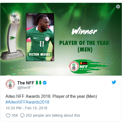 Twitter post by @thenff: Aiteo NFF Awards 2018. Player of the year (Men) #AiteoNFFAwards2018