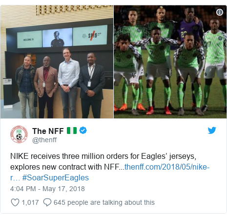 Twitter post by @thenff: NIKE receives three million orders for Eagles' jerseys, explores new contract with NFF... #SoarSuperEagles