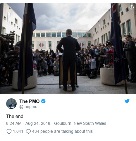 Twitter post by @thepmo: The end.