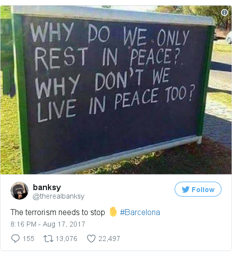 Twitter post by @thereaIbanksy