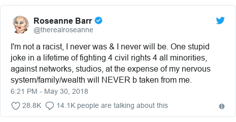 Twitter post by @therealroseanne: I'm not a racist, I never was & I never will be. One stupid joke in a lifetime of fighting 4 civil rights 4 all minorities, against networks, studios, at the expense of my nervous system/family/wealth will NEVER b taken from me.