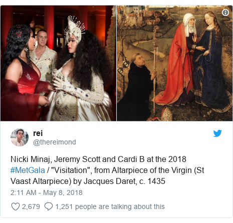 """Twitter post by @thereimond: Nicki Minaj, Jeremy Scott and Cardi B at the 2018 #MetGala / """"Visitation"""", from Altarpiece of the Virgin (St Vaast Altarpiece) by Jacques Daret, c. 1435"""