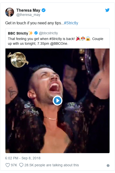 Twitter post by @theresa_may: Get in touch if you need any tips...#Strictly