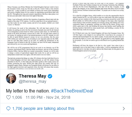 Twitter post by @theresa_may: My letter to the nation. #BackTheBrexitDeal