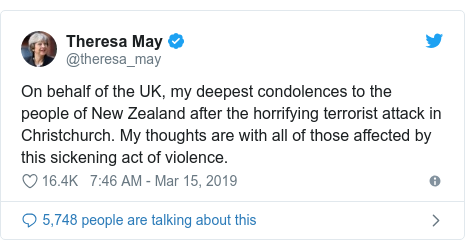 Twitter post by @theresa_may: On behalf of the UK, my deepest condolences to the people of New Zealand after the horrifying terrorist attack in Christchurch. My thoughts are with all of those affected by this sickening act of violence.
