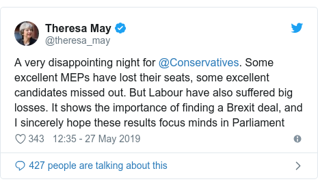 Twitter post by @theresa_may: A very disappointing night for @Conservatives. Some excellent MEPs have lost their seats, some excellent candidates missed out. But Labour have also suffered big losses. It shows the importance of finding a Brexit deal, and I sincerely hope these results focus minds in Parliament