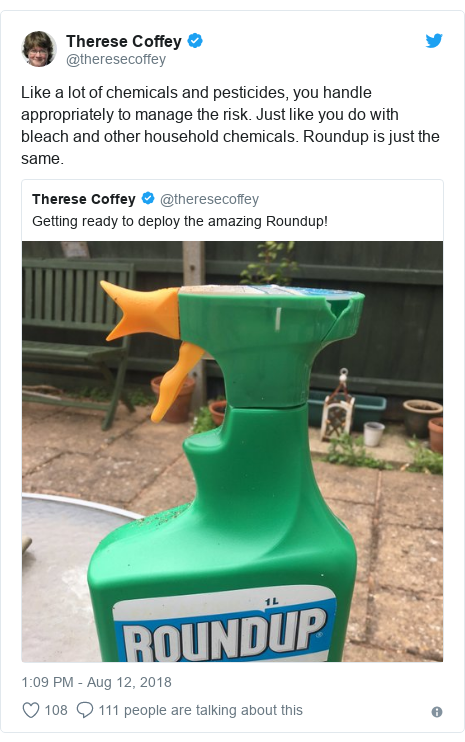 Twitter post by @theresecoffey: Like a lot of chemicals and pesticides, you handle appropriately to manage the risk. Just like you do with bleach and other household chemicals. Roundup is just the same.