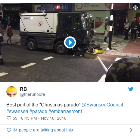 "Twitter post by @therunbore: Best part of the ""Christmas parade"" @SwanseaCouncil #swansea #parade #embarrasment"