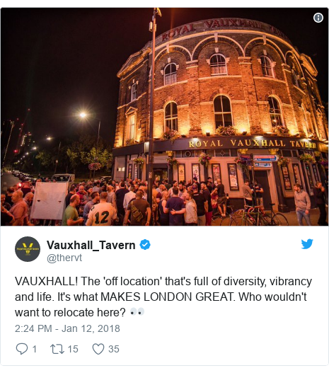 Twitter post by @thervt: VAUXHALL! The 'off location' that's full of diversity, vibrancy and life. It's what MAKES LONDON GREAT. Who wouldn't want to relocate here? 👀