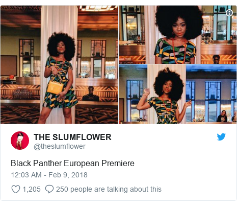Twitter post by @theslumflower: Black Panther European Premiere