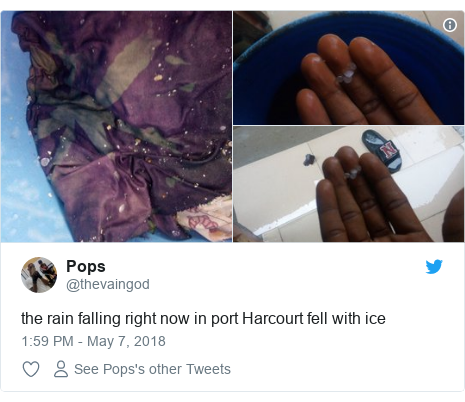Twitter post by @thevaingod: the rain falling right now in port Harcourt fell with ice