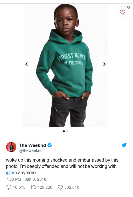 Twitter post by @theweeknd: woke up this morning shocked and embarrassed by this photo. i'm deeply offended and will not be working with @hm anymore...
