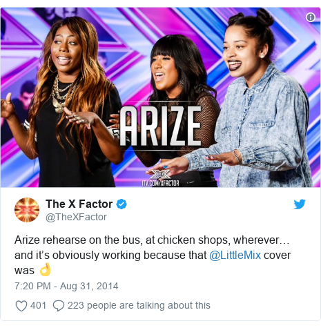 Twitter post by @TheXFactor: Arize rehearse on the bus, at chicken shops, wherever… and it's obviously working because that @LittleMix cover was 👌