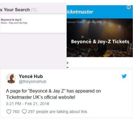 """Twitter post by @theyoncehub: A page for """"Beyoncé & Jay Z"""" has appeared on Ticketmaster UK's official website!"""