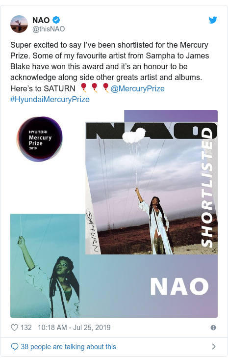 Twitter post by @thisNAO: Super excited to say I've been shortlisted for the Mercury Prize. Some of my favourite artist from Sampha to James Blake have won this award and it's an honour to be acknowledge along side other greats artist and albums. Here's to SATURN 🎈🎈🎈@MercuryPrize #HyundaiMercuryPrize